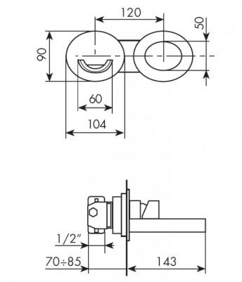 MISCELATORE LAVABO A MURO BELLOSTA FUNTAIN COD. 8105-3 - SCHEDA TECNICA