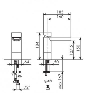 MISCELATORE PER LAVABO SOVRAPIANO 50mm  BELLOSTA FUNTANIN COD. 8105-A - SCHEDA TECNICA