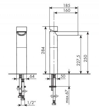 MISCELATORE SOVRAPIANO 150mm BELLOSTA FUNTANIN COD. 8105-C - SCHEDA TECNICA