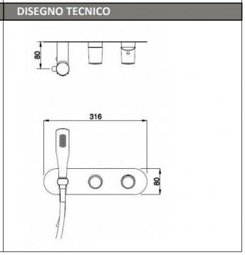 ke-fc027 MISCELATORE MONC DOCCIA VASCA INCASSO TECNICO